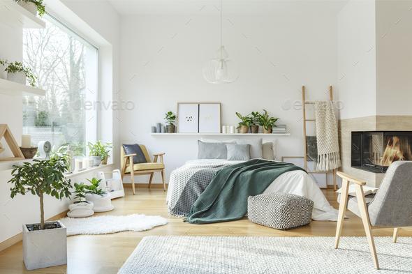 Spacious scandi bedroom interior - Stock Photo - Images