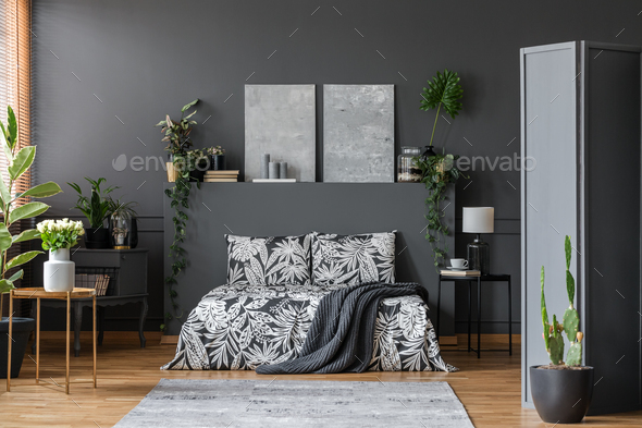 Black bedding in stylish interior - Stock Photo - Images