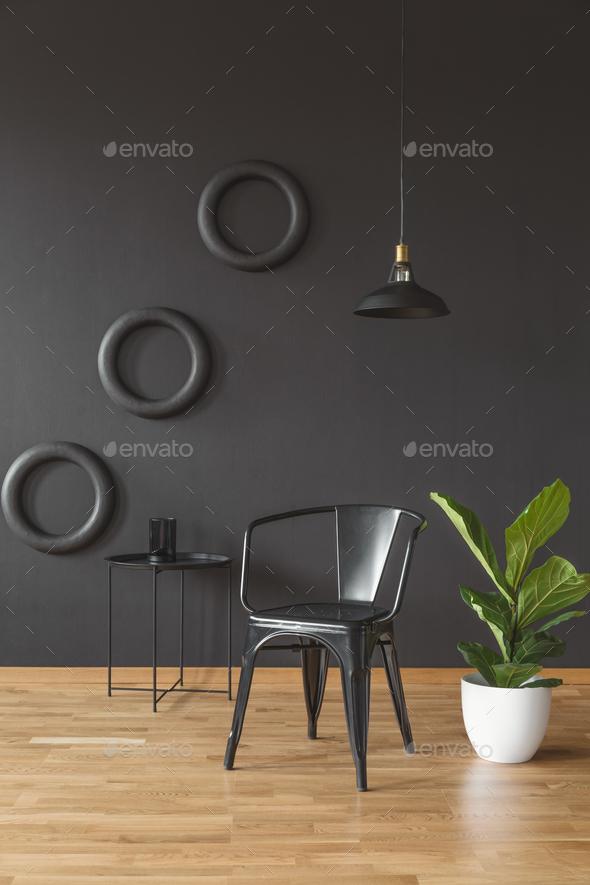 Dark black living room interior - Stock Photo - Images