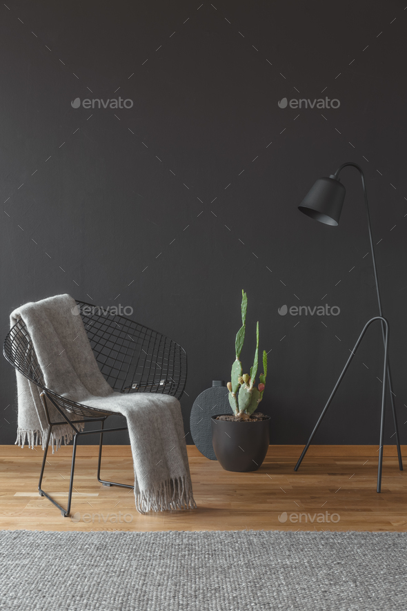 Minimal black living room interior - Stock Photo - Images