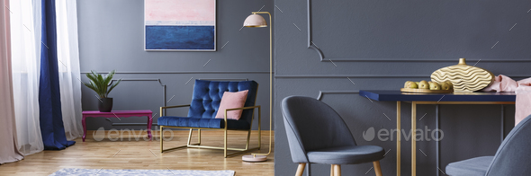 Dark open space living room interior with royal blue armchair, f - Stock Photo - Images