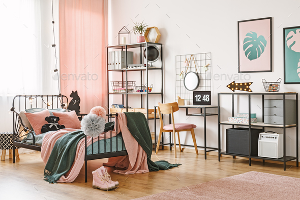Pink and green feminine bedroom