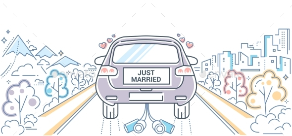 Honeymoon - Colorful Line Design Style - Weddings Seasons/Holidays