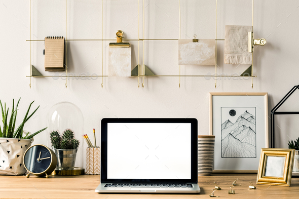Wall organizer and computer - Stock Photo - Images