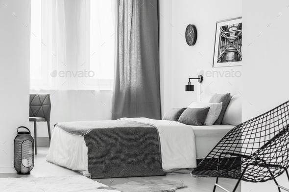 Bright grey bedroom interior - Stock Photo - Images