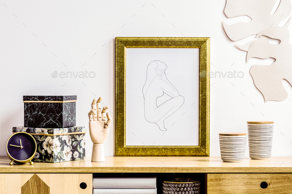 Commode and poster - Stock Photo - Images