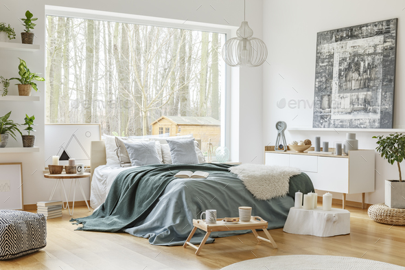 Green and blue bedroom interior - Stock Photo - Images