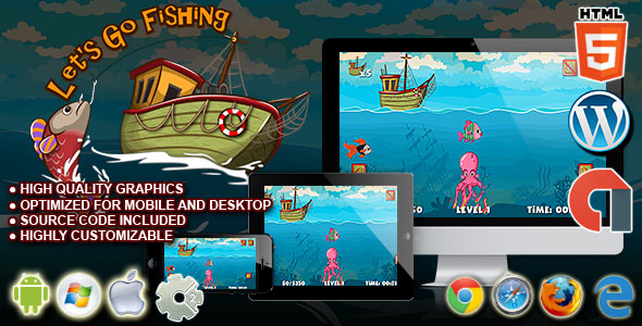 Let's Go Fishing - HTML5 Construct 2 Skill Game - CodeCanyon Item for Sale