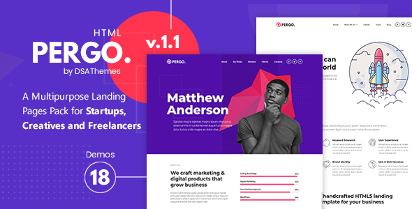Pergo -  A Multipurpose Landing Pages Pack for Startups, Creatives and Freelancers - Landing Pages Marketing