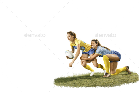 The young female rugby players isolated on white backround - Stock Photo - Images
