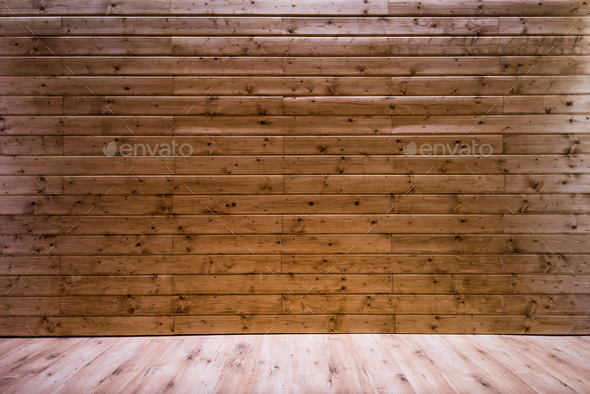 Wooden wall background with floor leading perspective - Stock Photo - Images