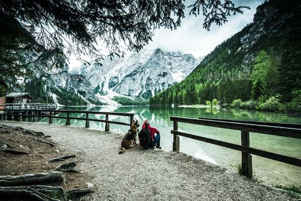 Active man and dog looking at Pragser Wildsee or Braies Lake - Stock Photo - Images