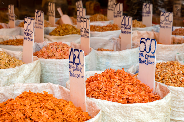 Various Dried Shrimp For Sale At Market - Stock Photo - Images