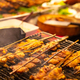Chicken Satay Grilling On Barbeque At Street Market - PhotoDune Item for Sale