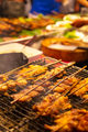 Chicken Satay Grilling On Barbeque At Street Market