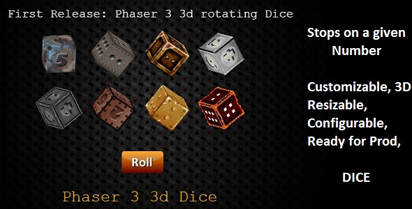 Phaser 3 3D Dice Class: Customizable            Nulled