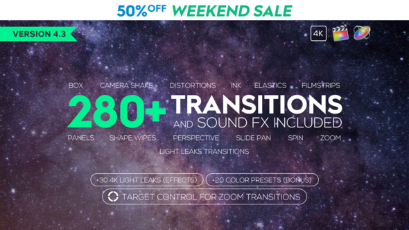 Videohive FCPX 280+ Transitions and Sound FX 21589524