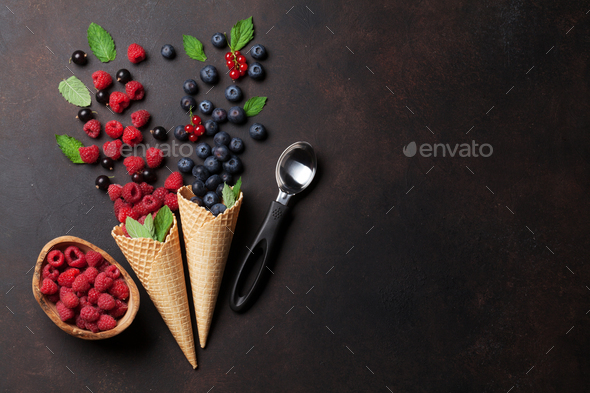 Ice cream with berries cooking - Stock Photo - Images