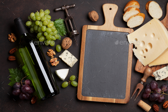 Wine, grape and cheese - Stock Photo - Images