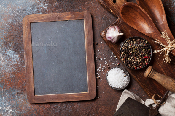 Vintage kitchen utensils and spices - Stock Photo - Images