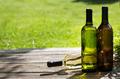 White wine bottles on wooden table - PhotoDune Item for Sale