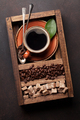 Coffee cup, roasted beans and brown sugar - PhotoDune Item for Sale
