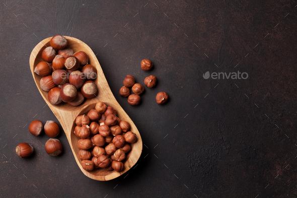 Hazelnut nuts - Stock Photo - Images