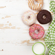 Milk and donuts on wooden table - PhotoDune Item for Sale