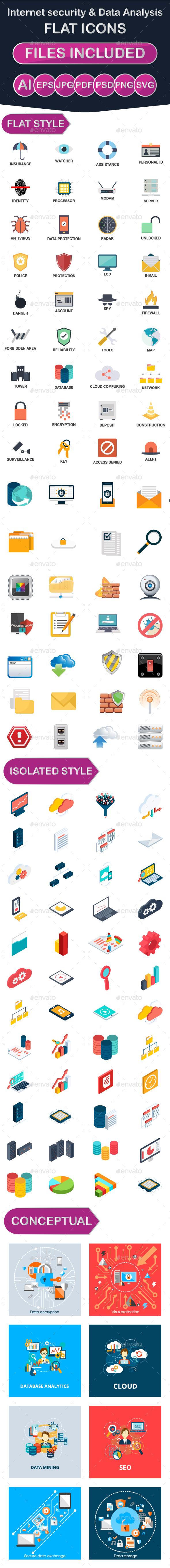 Internet Security & Data Analysis Icons - Web Icons