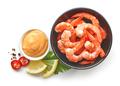 bowl of boiled gambas and salca sauce - PhotoDune Item for Sale
