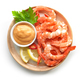 plate of boiled prawns and salsa sauce - PhotoDune Item for Sale