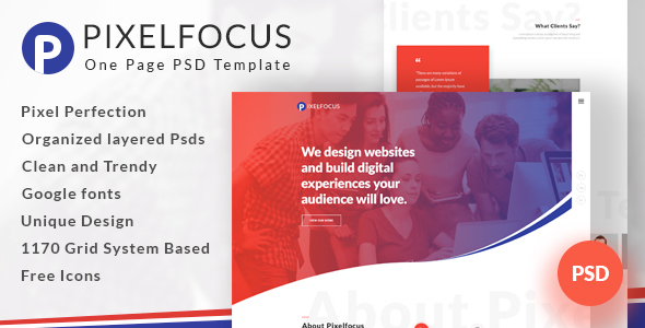 Pixelfocus - One Page PSD Template - Creative PSD Templates