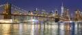 Brooklyn Bridge and Manhattan skyline at night, NYC.
