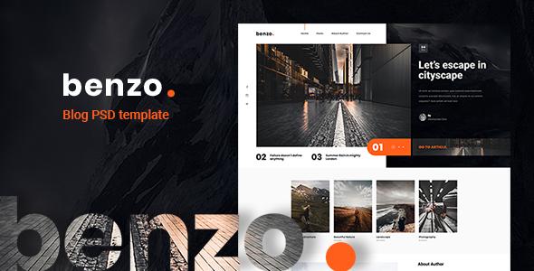 Benzo - Personal Creative Blog PSD Template - Creative PSD Templates