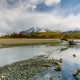 View of the Mountains and the River in Torres Del Paine National Park. Autumn in Patagonia - VideoHive Item for Sale