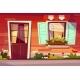 House Entrance Facade Vector Illustration