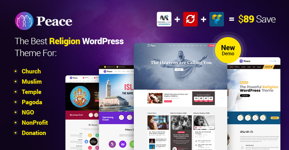 Peace - Church / Muslims / Temple WordPress Theme - Nonprofit WordPress