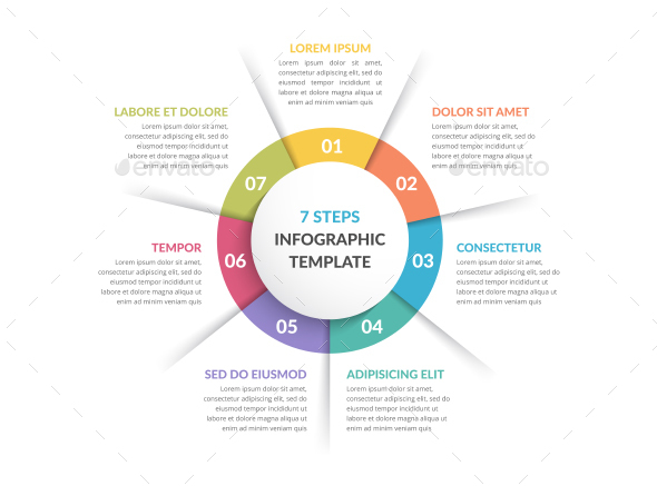 Circle Infographics with Seven Elements - Infographics
