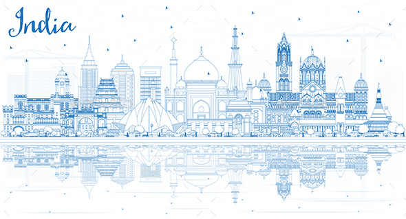 Outline India City Skyline with Blue Buildings - Buildings Objects