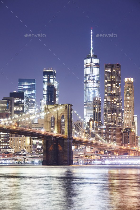 Brooklyn Bridge and Manhattan skyline at night, NY. - Stock Photo - Images