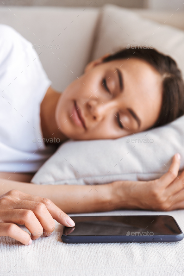 Attractive young asian woman sleeping - Stock Photo - Images