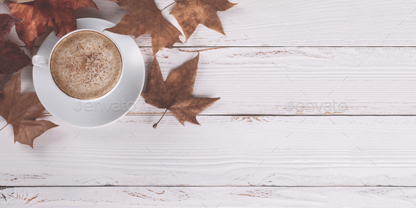Coffe and autumn leaves - Stock Photo - Images