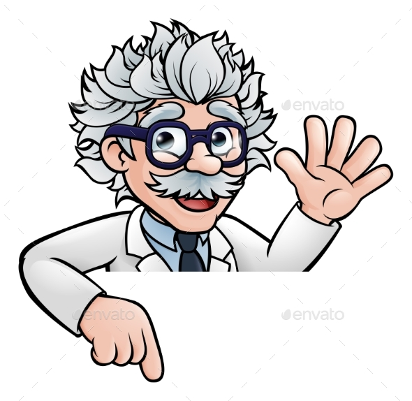 Cartoon Scientist Professor Pointing at Sign - People Characters