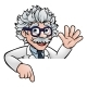 Cartoon Scientist Professor Pointing at Sign - GraphicRiver Item for Sale