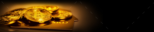 Golden bitcoins and credit card on yellow background - Stock Photo - Images