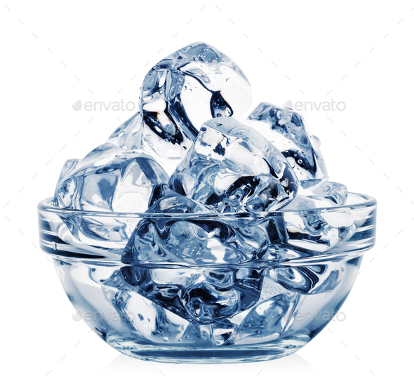 Transparent bowl with ice cubes toned in blue - Stock Photo - Images