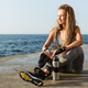 Happy disabled athlete woman with prosthetic leg - PhotoDune Item for Sale