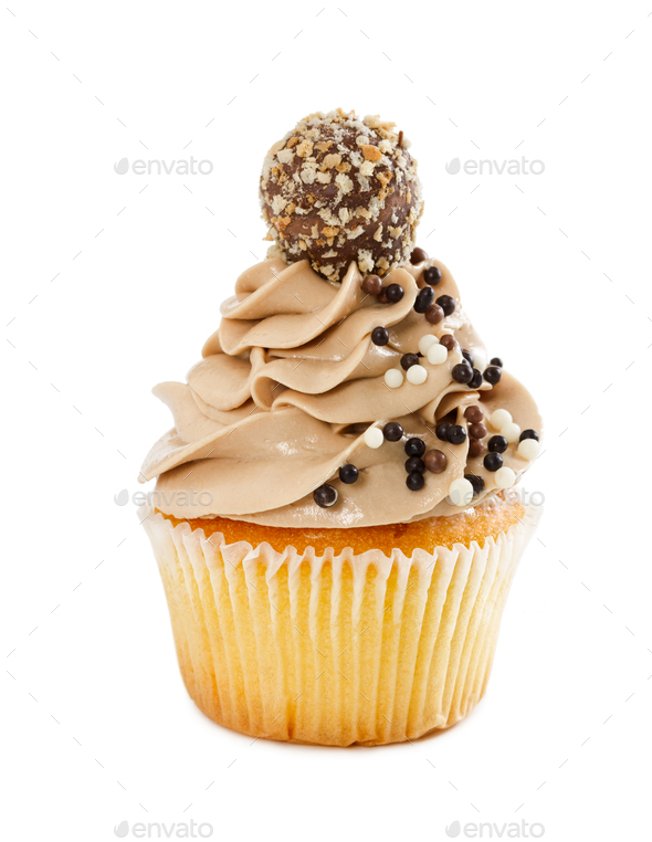 Delicious cupcakes with chocolate sprinkles isolated on white - Stock Photo - Images