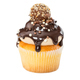 Cupcake with chocolate syrup, sprinkles and candy isolated on wh - PhotoDune Item for Sale
