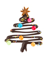 Sweet christmas tree with candies and decorative sprinkles isola